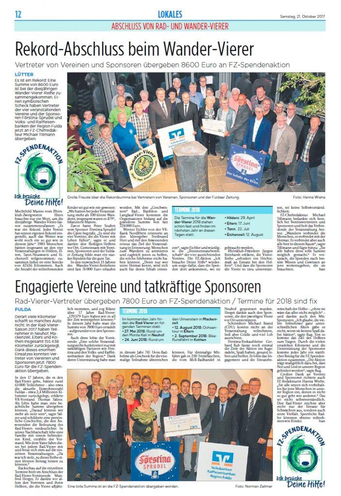Abschlussbericht zum Rad- und Wandervierer in der Fuldaer Zeitung vom 21. Oktober 2017